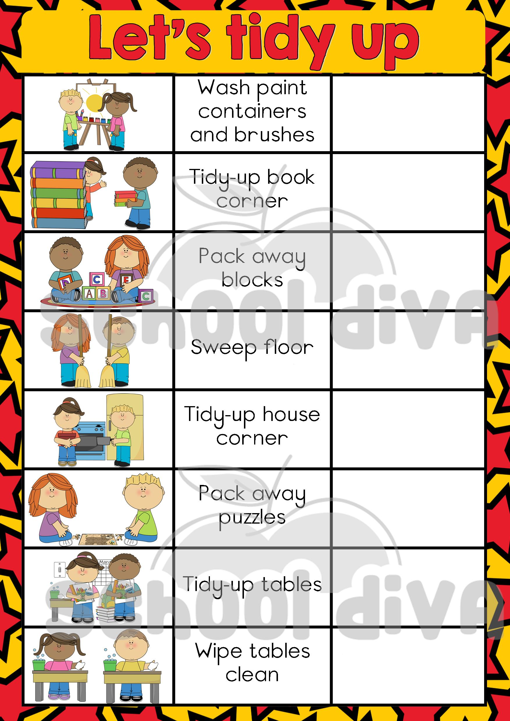 Free Worksheets life skills grade 5 worksheets : Tidy Up Chart - School Diva